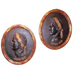 Pair of Portrait Medallions of Caesars, Grand Tour Tradition