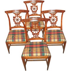 Set of Four Italian Neoclassical Slight Klismos Chairs