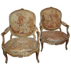 Pair of Louis Xv Style Giltwood Armchairs , Tapestry Covering