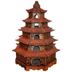 Polychrome Chinese Pagoda Birdcage
