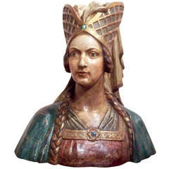 Polychrome Carved Wooden Bust of Lady