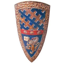 Wood Shield with Coat of Arms