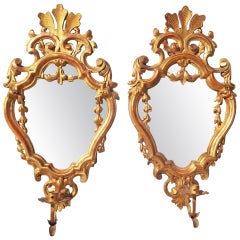 Pair of Louis XV Style Giltwood Mirrors with Sconces in Water Gilt