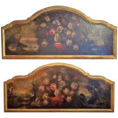 Pair of Italian Floral Overdoor Oils with Capriccio and Landscape Views