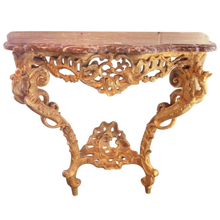 Louis XV Giltwood Rococo Marble-Top Console Original Gilt, circa ...