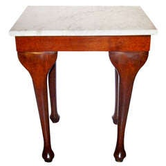 English Mahogany Console or Side Table with Carrera Marble