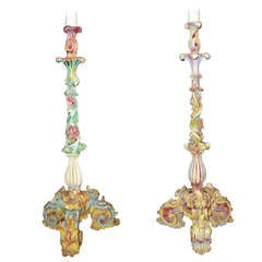 Companion Pair Of Venetian Candlesticks As Lamps