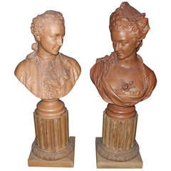 Pair of Terra Cotta Busts on Carved Pine Bases
