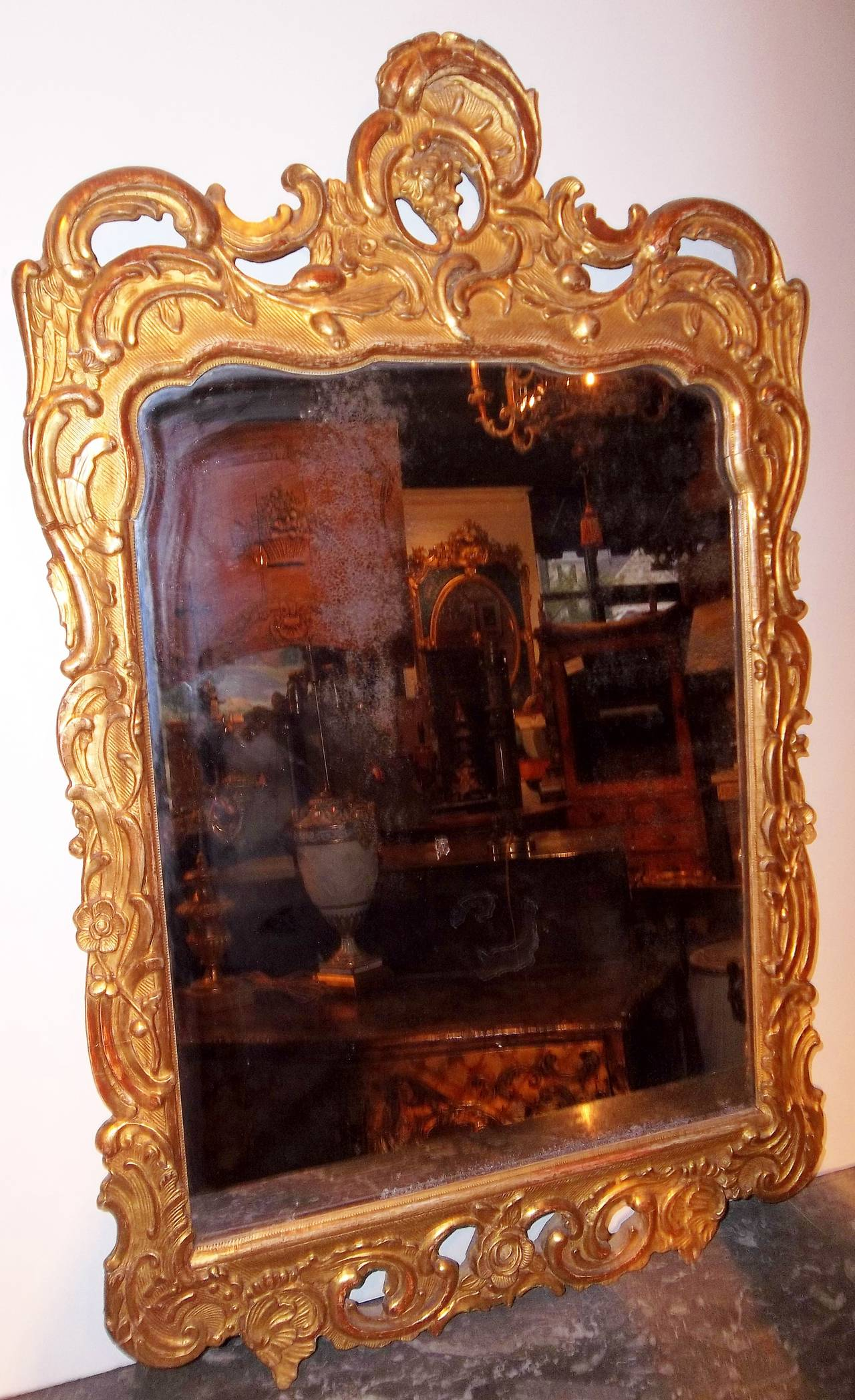 rococo french or italian looking glass mirror for sale at 1stdibs. Black Bedroom Furniture Sets. Home Design Ideas