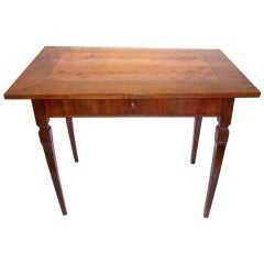 Italian walnut parquetry neoclassical style table