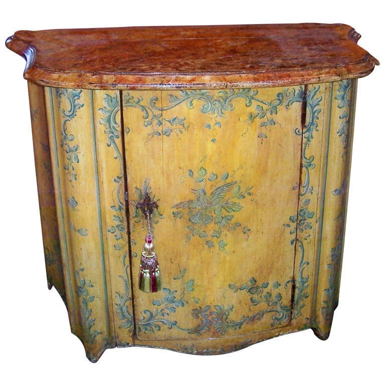 French or Italian Saffron Painted Cabinet or Cupboard For Sale