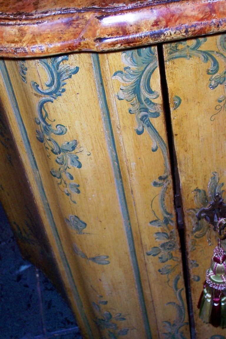 Iron French or Italian Saffron Painted Cabinet or Cupboard For Sale