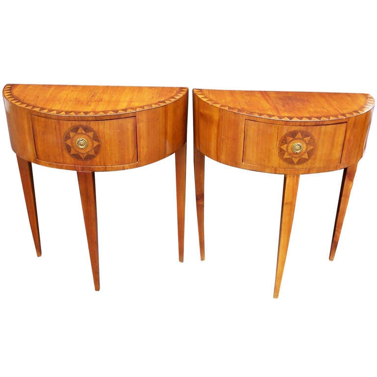 Pair Of Italian Neoclassical Style Inlaid Demilune Tables
