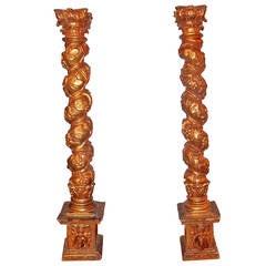 Pair of Giltwood Solomonic Columns as Candlesticks