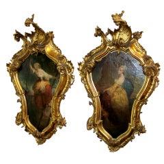 Pair of Venetian ( Italian ) Oils in Carved Giltwood Frames