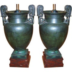 Pair of Bronze Finished Urns, Campana Form, Now Lamps