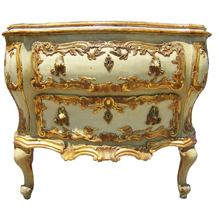 Large paint and gilt venetian italian rococo bombe for French rococo furniture