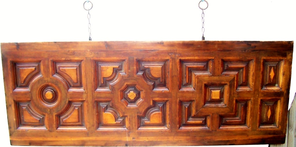 Italian Walnut & Fruitwood Headboard for a King / Queen Bed For Sale