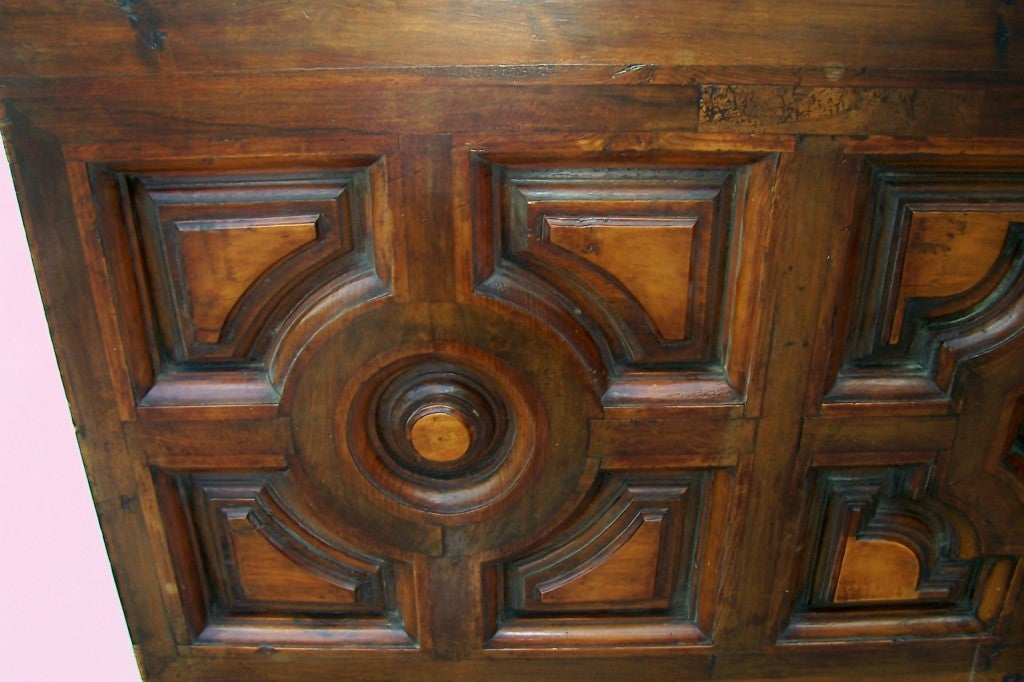 Baroque Italian Walnut & Fruitwood Headboard for a King / Queen Bed For Sale