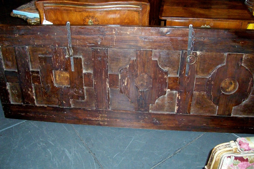 18th Century Italian Walnut & Fruitwood Headboard for a King / Queen Bed For Sale