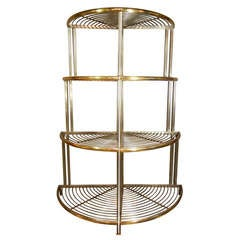 Pair of Modernism Steel and Brass Corner Baker's Racks, France, circa 1935