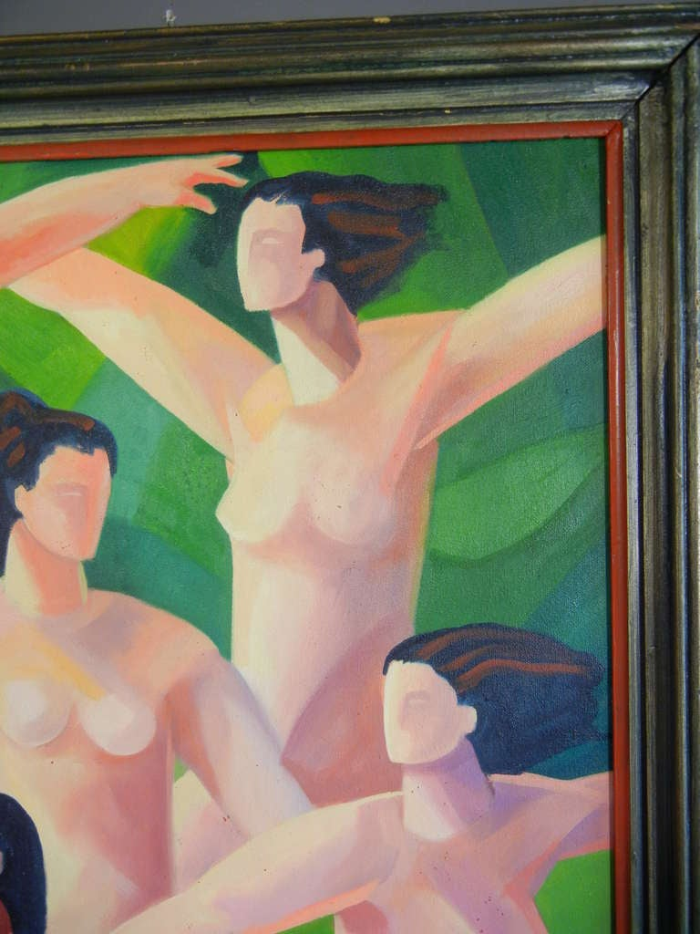 The Dancers, American Figurative Expressionist Oil Painting on Canvas In Excellent Condition For Sale In Quechee, VT