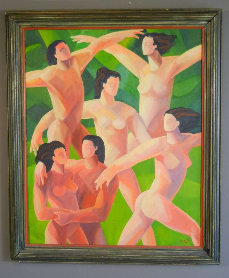 The Dancers, American Figurative Expressionist Oil Painting on Canvas For Sale 1