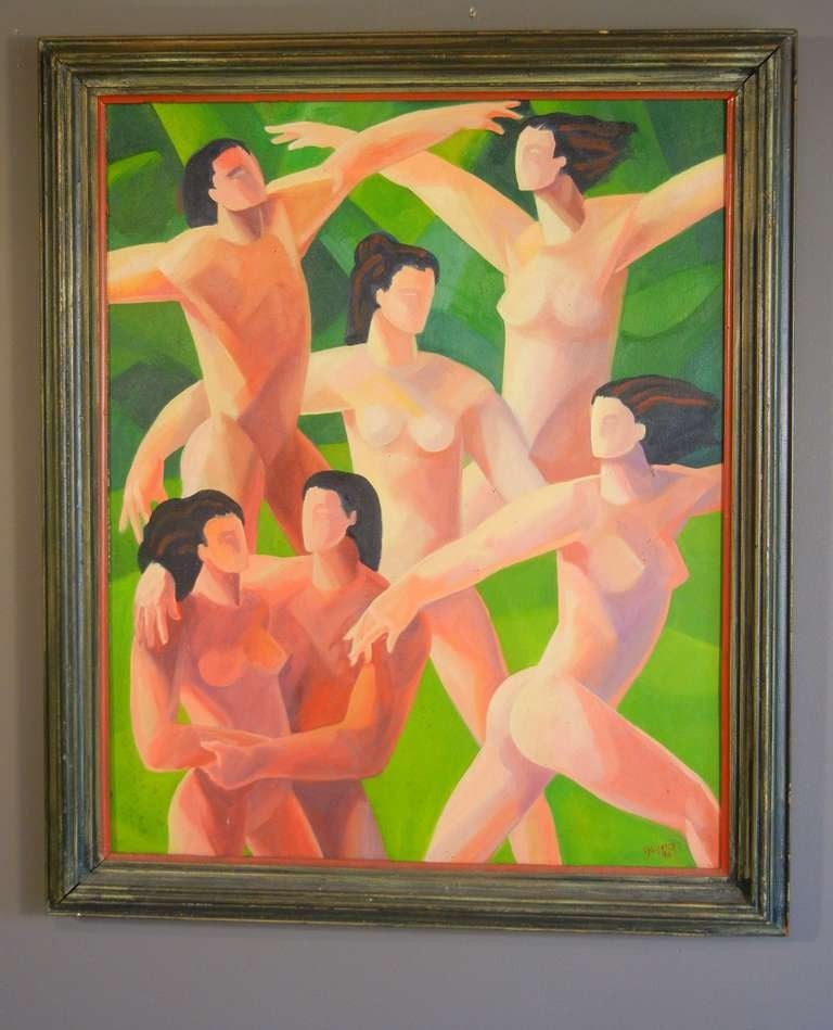 The Dancers, American Figurative Expressionist Oil Painting on Canvas For Sale 4