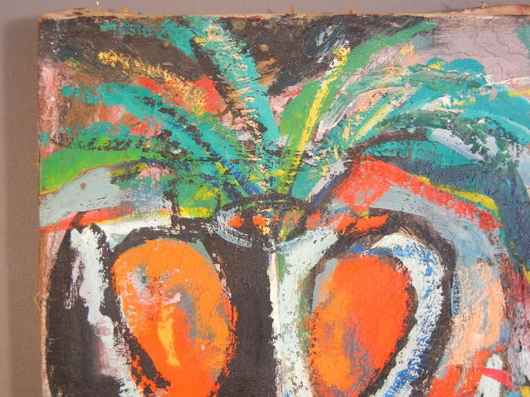 With influences of Fauvism and Cubism, this American expressionist oil painting on canvas is done in heavily-applied, vibrant and saturated colors, with an abstracted subject of fruits arranged in bold composition. It is unsigned, but the stretcher