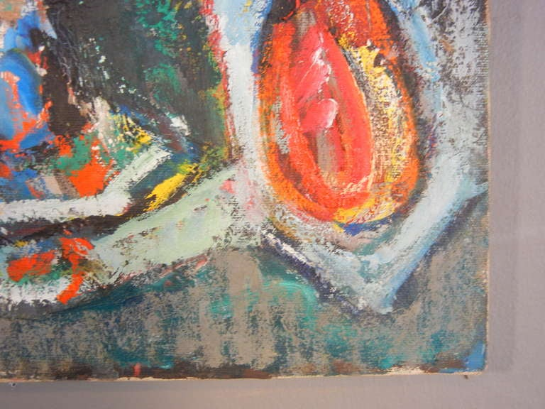 Expressionist Still Life, Oil on Canvas, California, 1940s In Good Condition For Sale In Quechee, VT