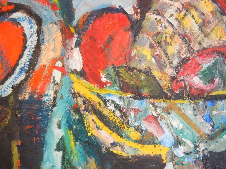 Expressionist Still Life, Oil on Canvas, California, 1940s For Sale 1
