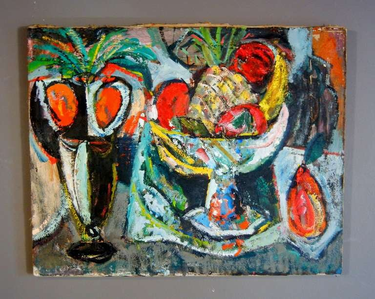 Expressionist Still Life, Oil on Canvas, California, 1940s For Sale 3