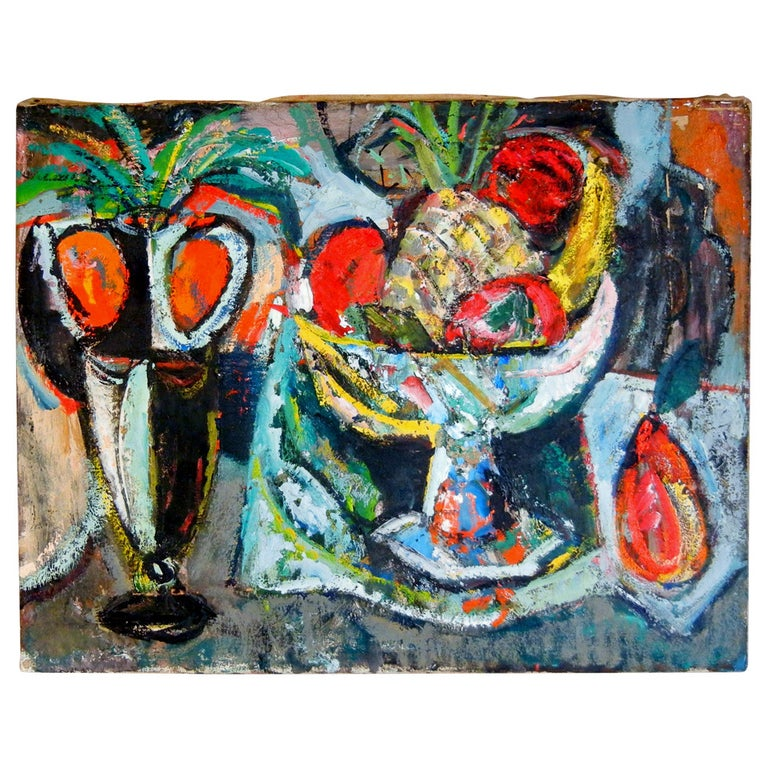 Expressionist Still Life, Oil on Canvas, California, 1940s For Sale