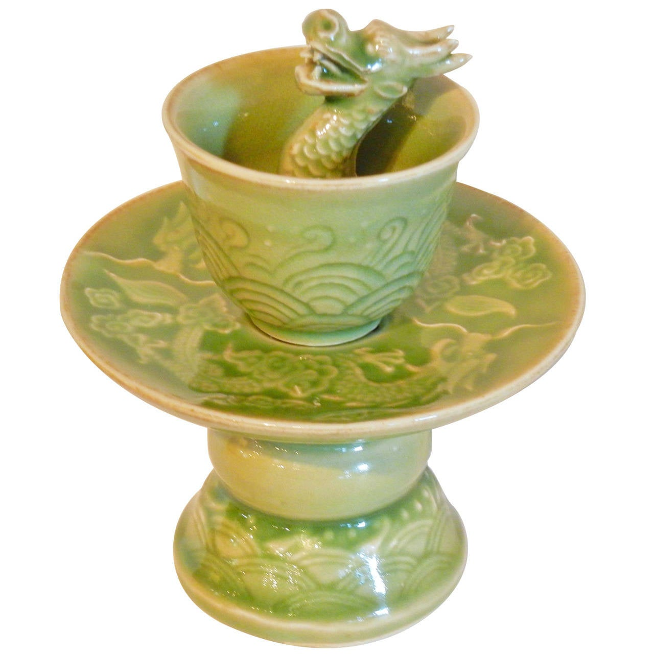 Celadon Dragon Trick Cup On Stand Qianlong Emperor At 1stdibs