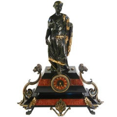 Napoleon III Bronze and Marble Clock Depicting Minerva as Bringer of Peace