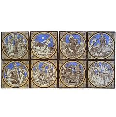 8 Different Minton Tiles by John Moyr Smith Depicting Malory's Le Morte d'Arthur