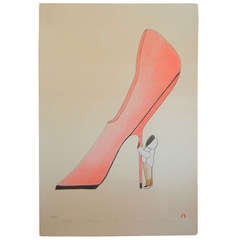 Stiletto, Lithograph by Kavavaow Mannomee, Cape Dorset Inuit Collection, 2010