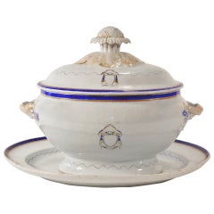 Love Birds Armorial Tureen with Underliner, Chinese Export Jiaqing Emperor