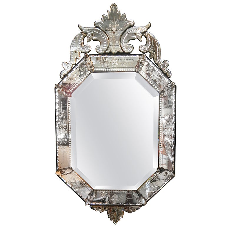 Very fine antique venetian etched glass mirror in medium for Antique wall mirrors