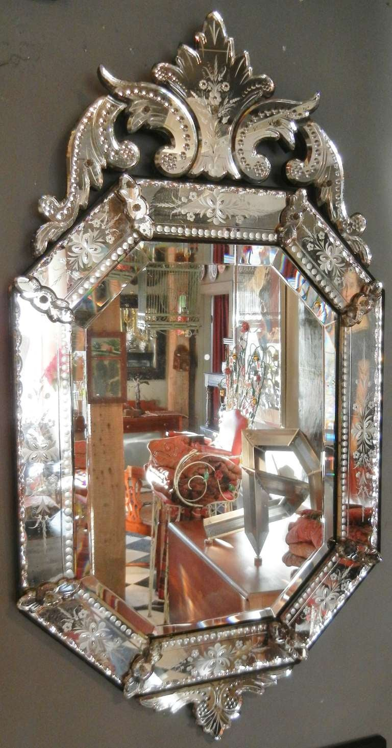 very fine antique venetian etched glass mirror in medium size at 1stdibs
