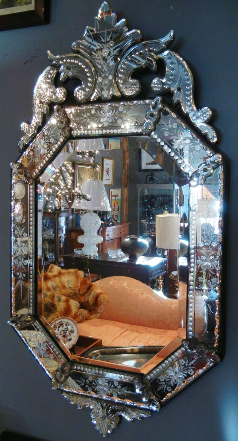 Very Fine Antique Venetian Etched Glass Mirror In Medium