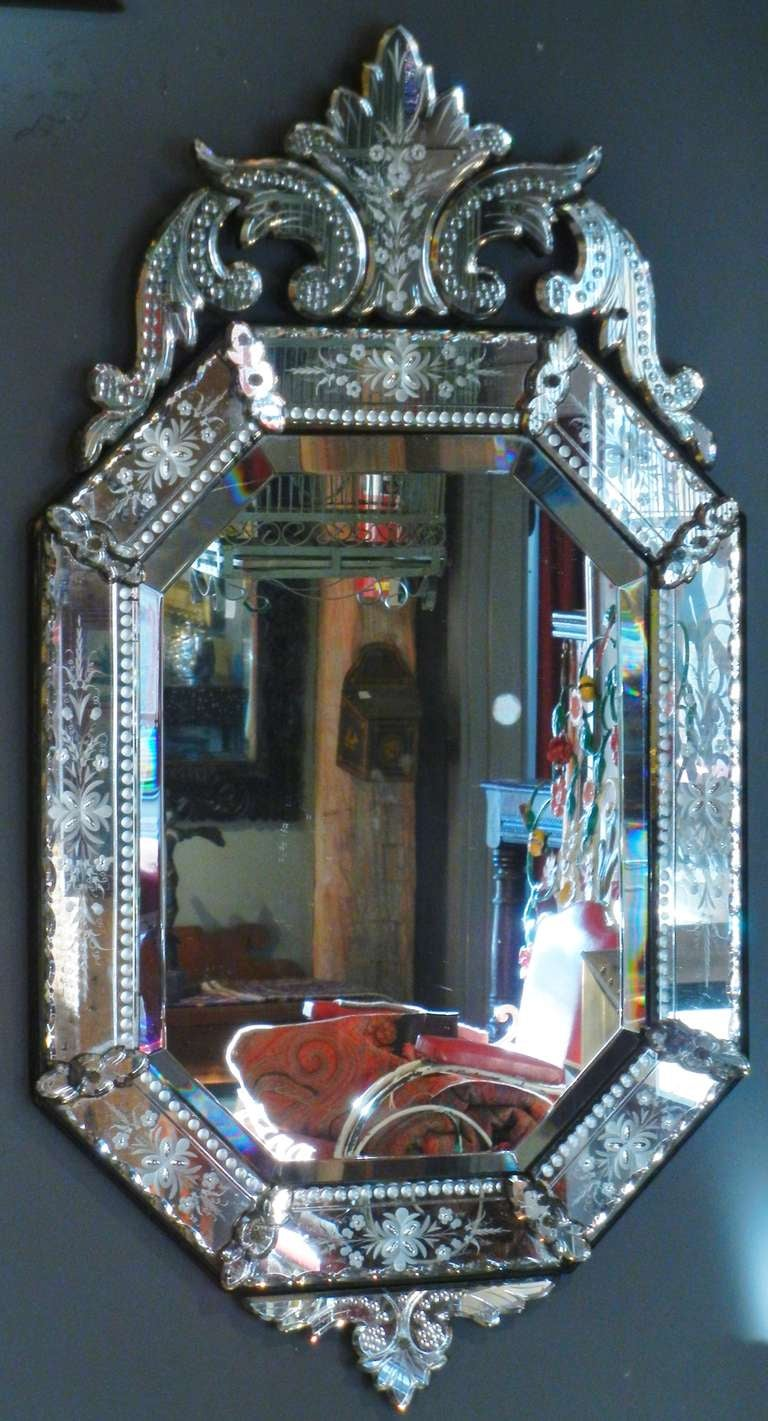 Very fine antique venetian etched glass mirror in medium for Glass mirrors for walls