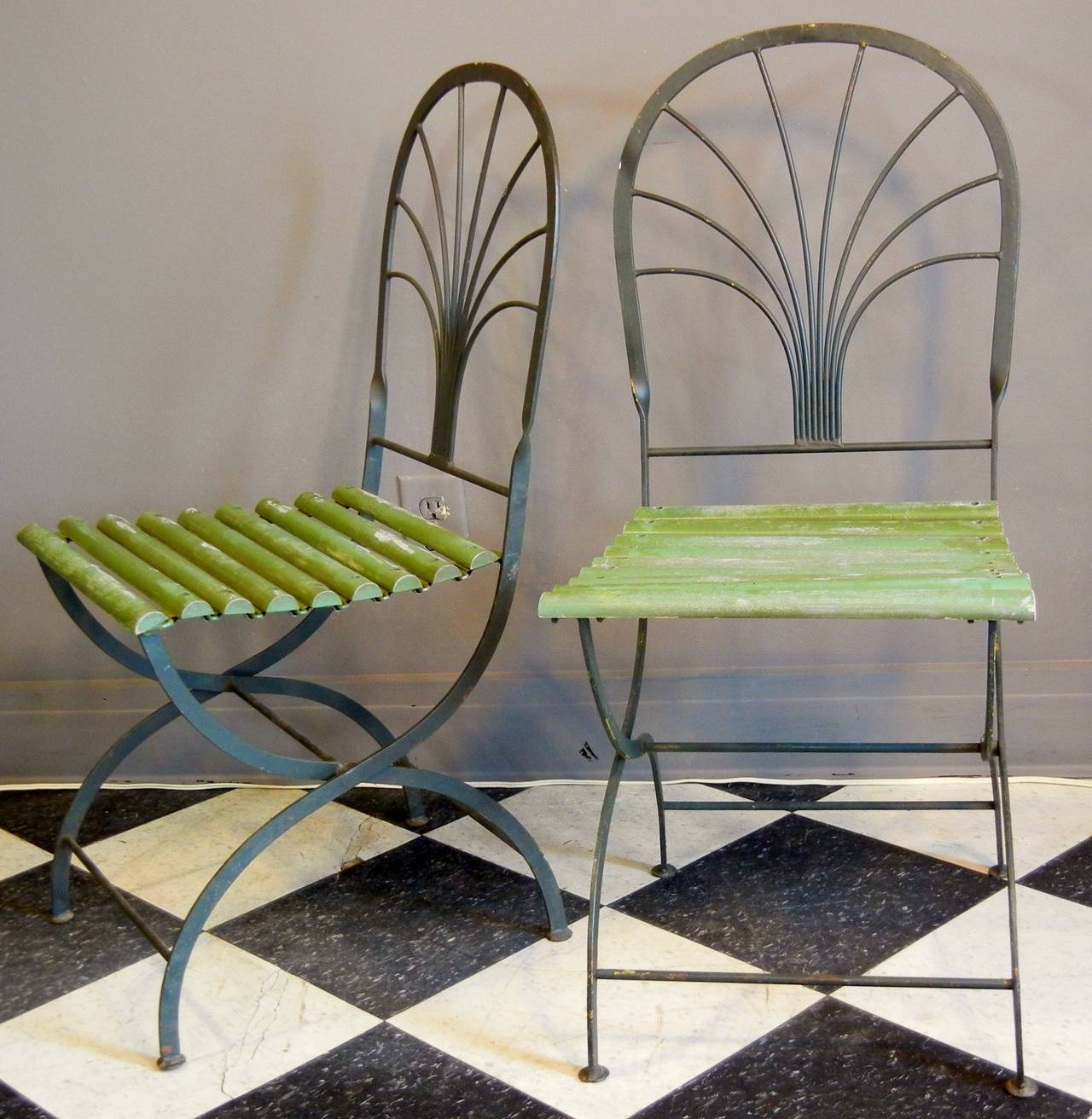 art deco outdoor furniture. Art Deco Period Folding Garden Chairs, Stylized Palm Trees, Set Of Four In Good Outdoor Furniture L
