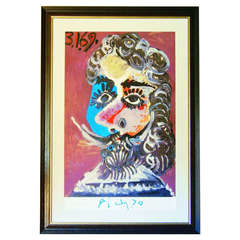 """Limited Edition Art Poster, Picasso Show  """"Portraits Imaginaires"""", Rome 1970"""