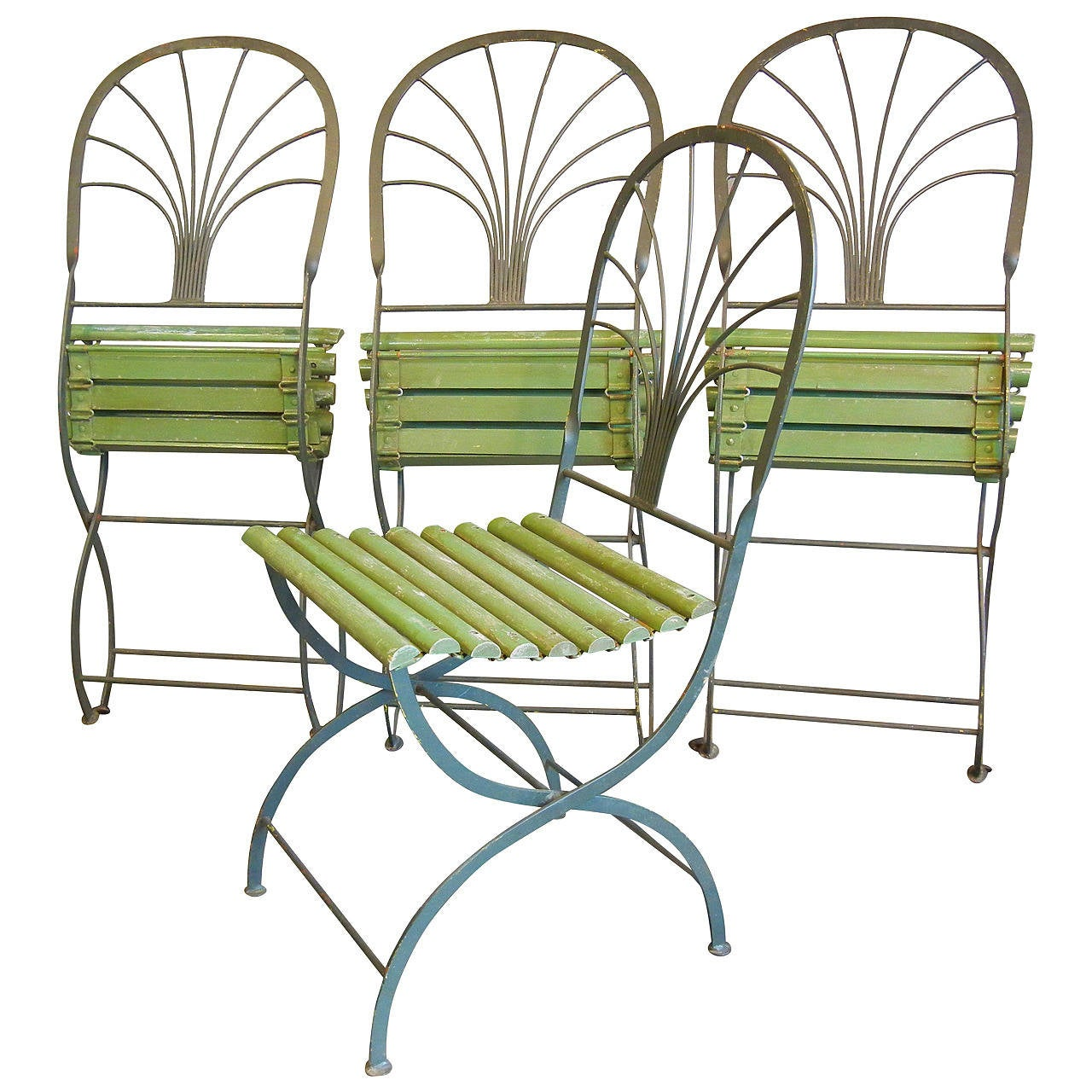 Art Deco Period Folding Garden Chairs, Stylized Palm Trees, Set of Four For  Sale - Art Deco Period Folding Garden Chairs, Stylized Palm Trees, Set Of