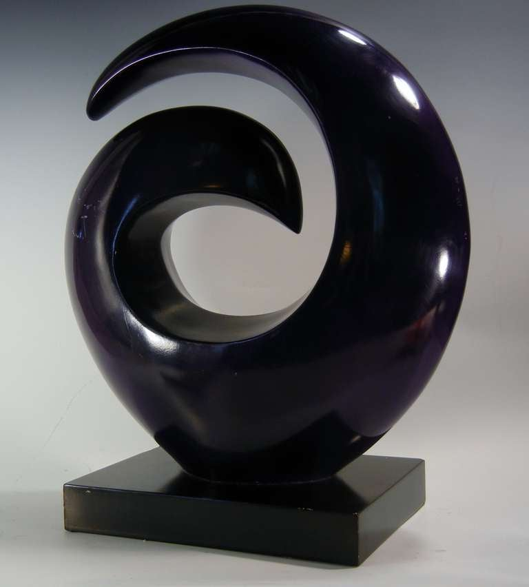 Abstract Biomorphic Sculpture In Purple Enameled Aluminum