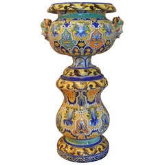 Nevers Faience Large Jardinière on Stand by Antoine Montagnon, 19th Century