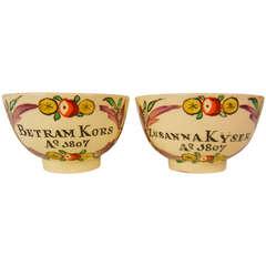 Kors - Kyser Betrothal Teabowls, Pennsylvania Dutch Market Creamware, 1807