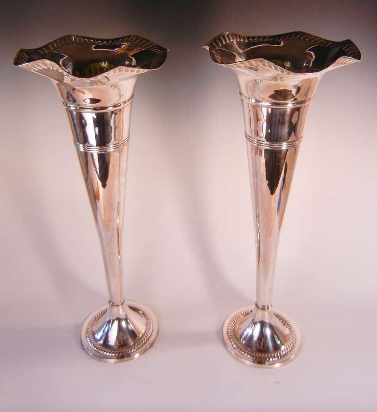 Towering Pair of Silver Plate Trumpet Vases