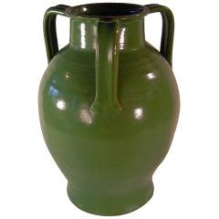 Early North Carolina Art Pottery Porch Vase in Green Glaze